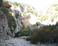 Rock Climbing Photo: Approaching La Surgencia.  The far right end of La...