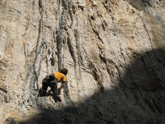 Rock Climbing Photo: Racing the shade up Pince Sans Rire.