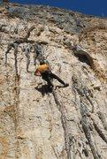 Rock Climbing Photo: Stellar tufa-action near the top.
