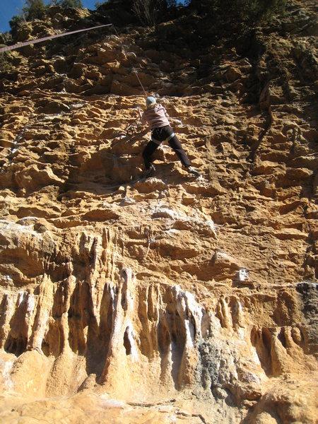 Rock Climbing Photo: The pumpy, juggy, run to the anchor.