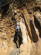 "Rock Climbing Photo: The fun tufa column at the start of ""Sonrisa ..."