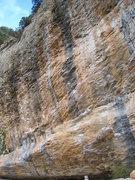 Rock Climbing Photo: Billy el Rapido climbs the central black streak.