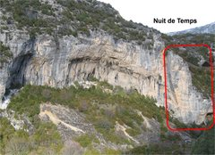 Rock Climbing Photo: Nuit de Temps is on the right end of Gran Boveda.