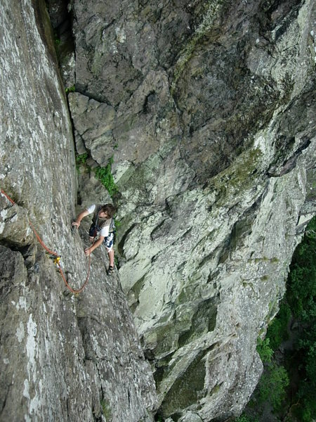 Climber on the final pitch.Photo by Ron Kenyon