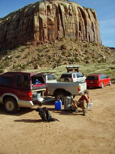 Tailgating at Supercrack Buttress.