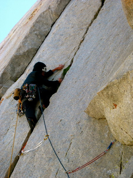 Starting up the handcrack on pitch 3.