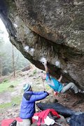 Rock Climbing Photo: Niall working the starting moves on Northern Terri...