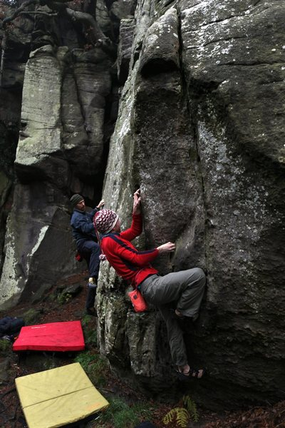 Rock Climbing Photo: Niall setting up for the crux move on Christmas Tr...