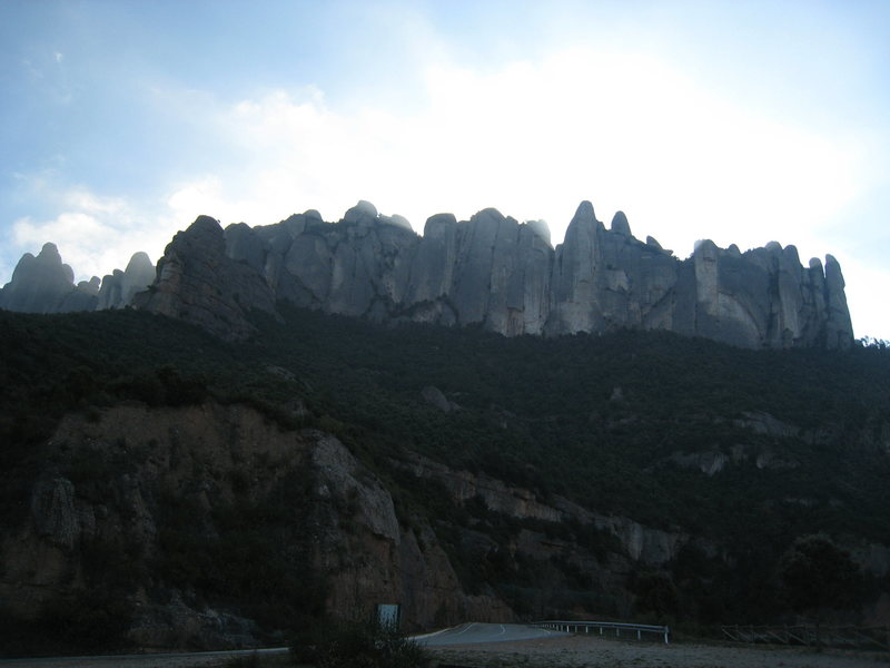 Rock Climbing Photo: The intimidating & chilly North Walls of Montserra...