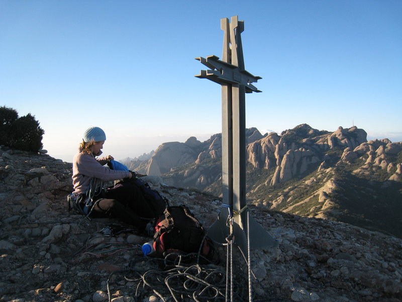 The cross on the summit of Gorro Frigi makes for a nice belay anchor.