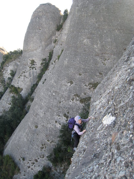 Rock Climbing Photo: Finishing up the crux third pitch, with Gorra Mari...