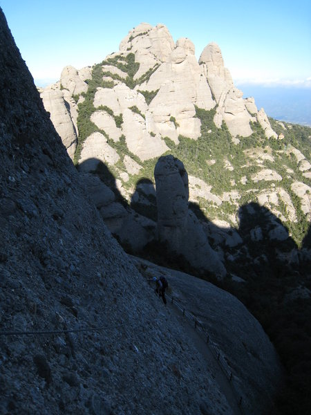 Rock Climbing Photo: Beginning up P1, with L'Elephant, etc in the backg...