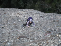 Rock Climbing Photo: Nearing the route's crux, a steep traverse between...