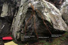 Rock Climbing Photo: Christmas Tree Arete Topo