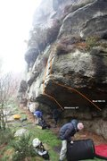 Rock Climbing Photo: Overhanging Buttress Topo