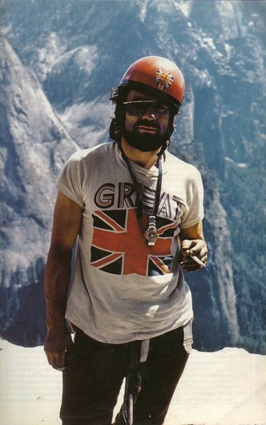 Paul Ross ... El Cap Spire on the first all British ascent of the Wall 1973
