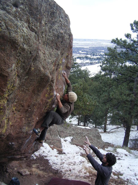 Mike B. getting to business on First Overhang.