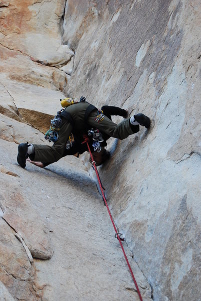 Rock Climbing Photo: Smearing through the crux.