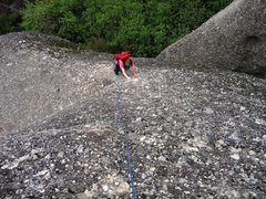 Rock Climbing Photo: First pitch on the south face route.