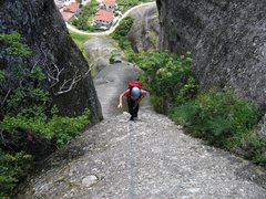 Rock Climbing Photo: Hiking up after the steeper trough section of the ...