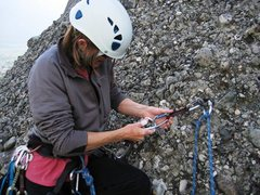 Rock Climbing Photo: Pitch two anchor on Ostkante.  Standard fare in Me...