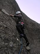 Rock Climbing Photo: Stepping up for the crux of Ostkante on pitch 4.