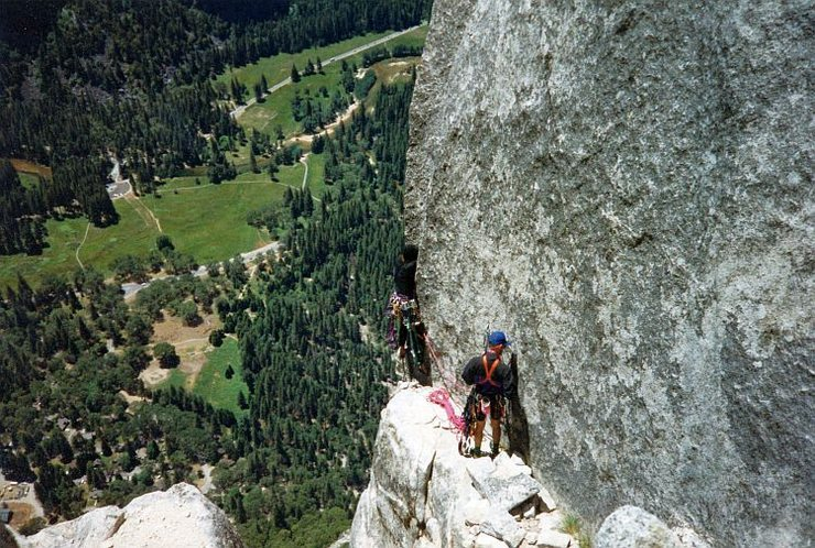 Starting up pitch 1 of the Lost Arrow Tip, Yosemite Valley