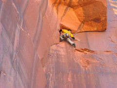 Rock Climbing Photo: Trying to clean the fine sand off the wall before ...