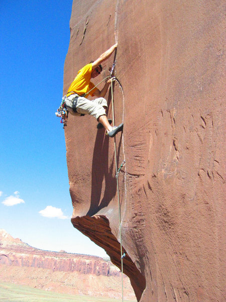 Rock Climbing Photo: Moving into the upper flare.