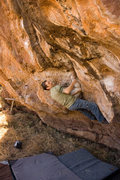 Rock Climbing Photo: Lance starting up the problem