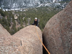 Rock Climbing Photo: CM following the 3rd pitch which below her is most...