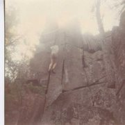 Rock Climbing Photo: EB's and a Whillians Sit harness circa 1979