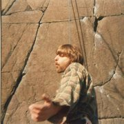 Rock Climbing Photo: Cosmic Curt Lee at the base of Fancy Dancer - late...