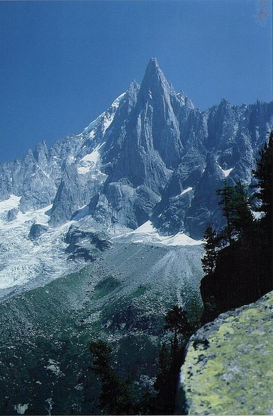 The Aiguille de Dru. Above the town of Chamonix. The prominent central buttress is the Bonatti pillar.