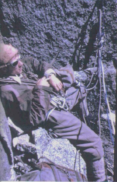 Rock Climbing Photo: Historic photo.. P.Ross on day two (bivy site) on ...