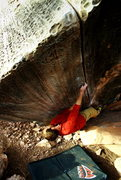 Rock Climbing Photo: Riding the Stunning Laser Cut V3, The Anvil Boulde...