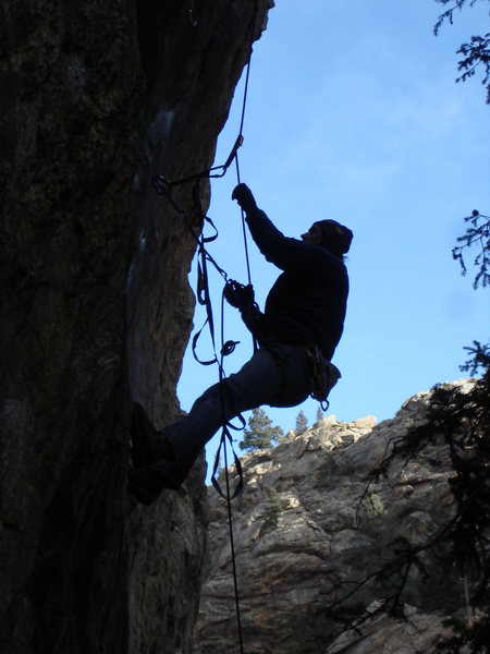 "Rock Climbing Photo: Luke Childers cleaning his new project at ""Th..."