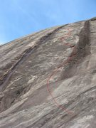 Rock Climbing Photo: Photo of route with rough estimated overlay of the...