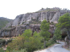 Rock Climbing Photo: Can Llepafils (above) and the far right end of El ...