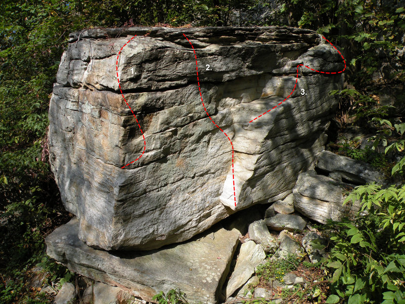 The Green Arete Boulder in the Kama Sutra Area: 1. You're Not Good Enough (V2), 2. Green Dihedral (V0), 3. Makin' the Best of a Bad Thing (V0)