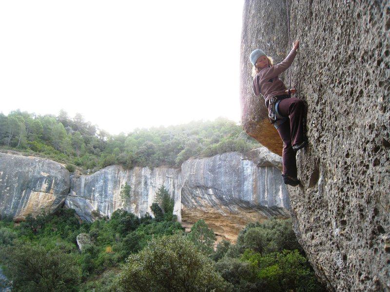 "Rock Climbing Photo: Enjoying the steep slab of ""Lo Xispero"" ..."