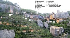 Rock Climbing Photo: Finestra cliff with a few key routes marked.