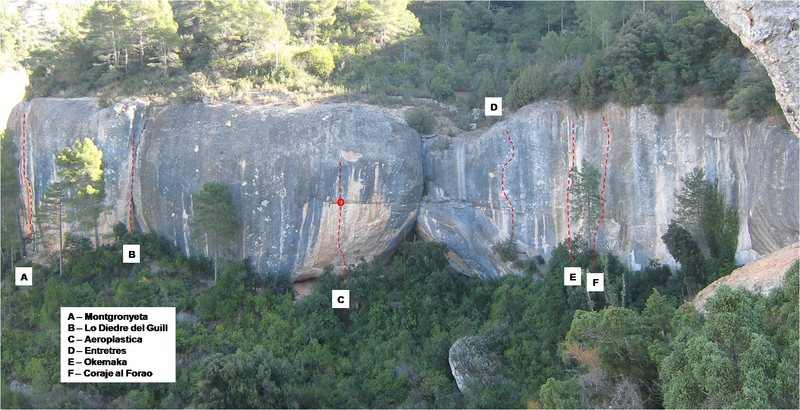 Topo of the mid-left section of Finestra.  Not all routes marked.