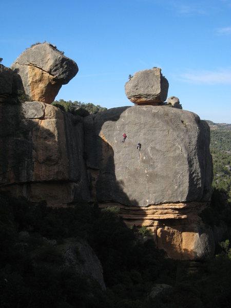 "Rock Climbing Photo: A pair of unknown Brits on ""Garotina"" (L..."
