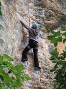 Rock Climbing Photo: Working over the small roof on great knobs.