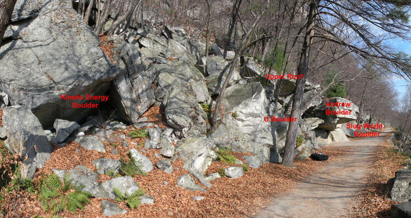 A map of the Andrew Area Boulders