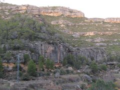 Rock Climbing Photo: Can Torxa is the lower large gray cliff.