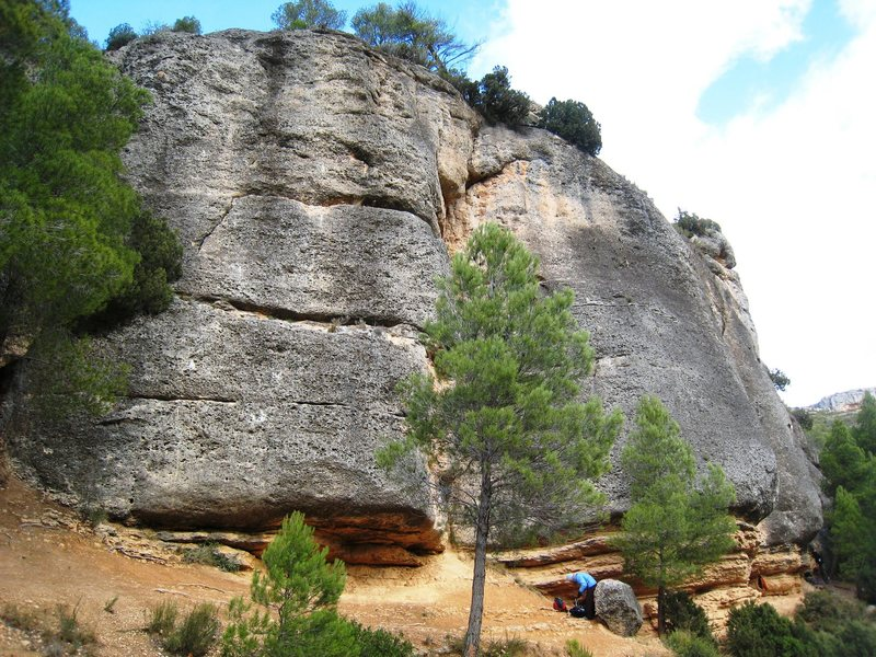 "The left end of Can Torxa.  The large dihedral behind the tree is ""Somiatruites"", a good 5.11."