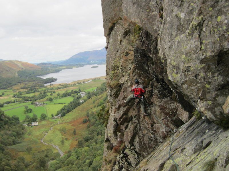 Rock Climbing Photo: At the end of the traverse..the crux. Climber Gene...