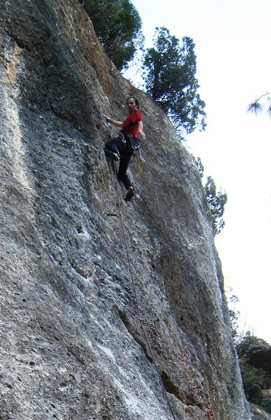 Rock Climbing Photo: Enjoying one of the few incut jugs on Coraje al Fo...